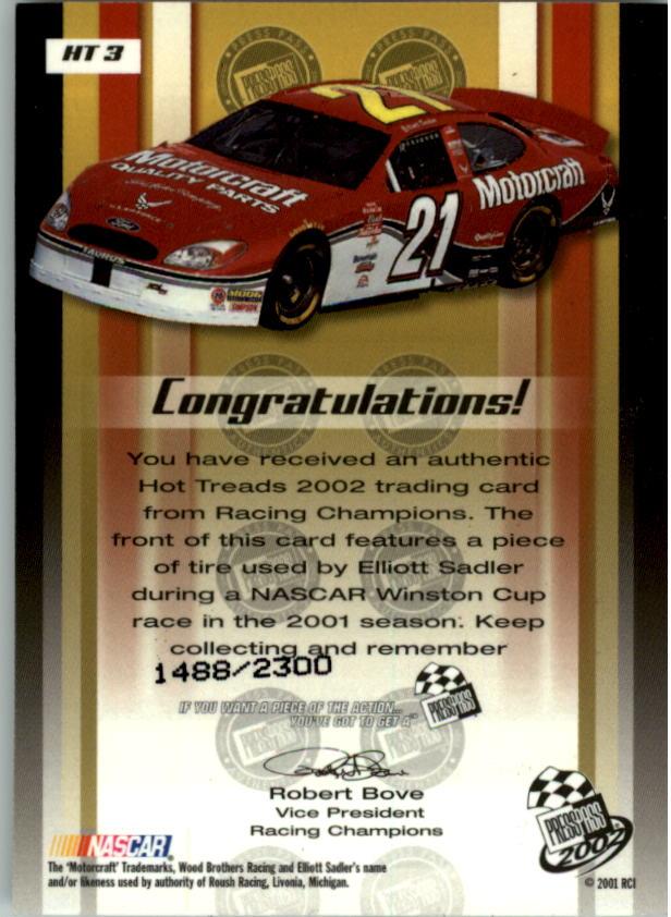 2002 pase de prensa caliente peldaños Racing tarjeta Pick