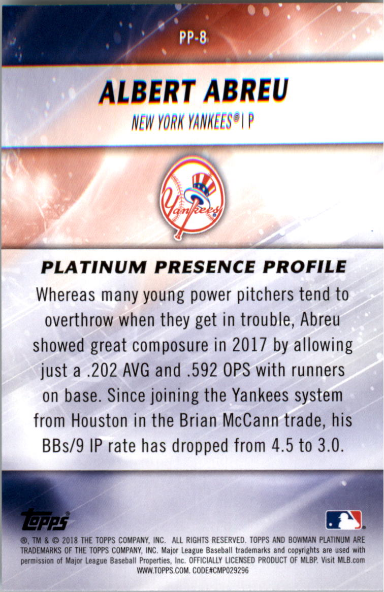 2018 Bowman Platinum Platinum Presence Choose From