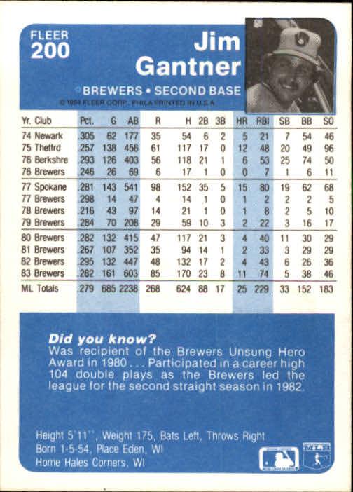 1984 FLEER BASEBALL ASSORTED SINGLES U-PICK 1-250