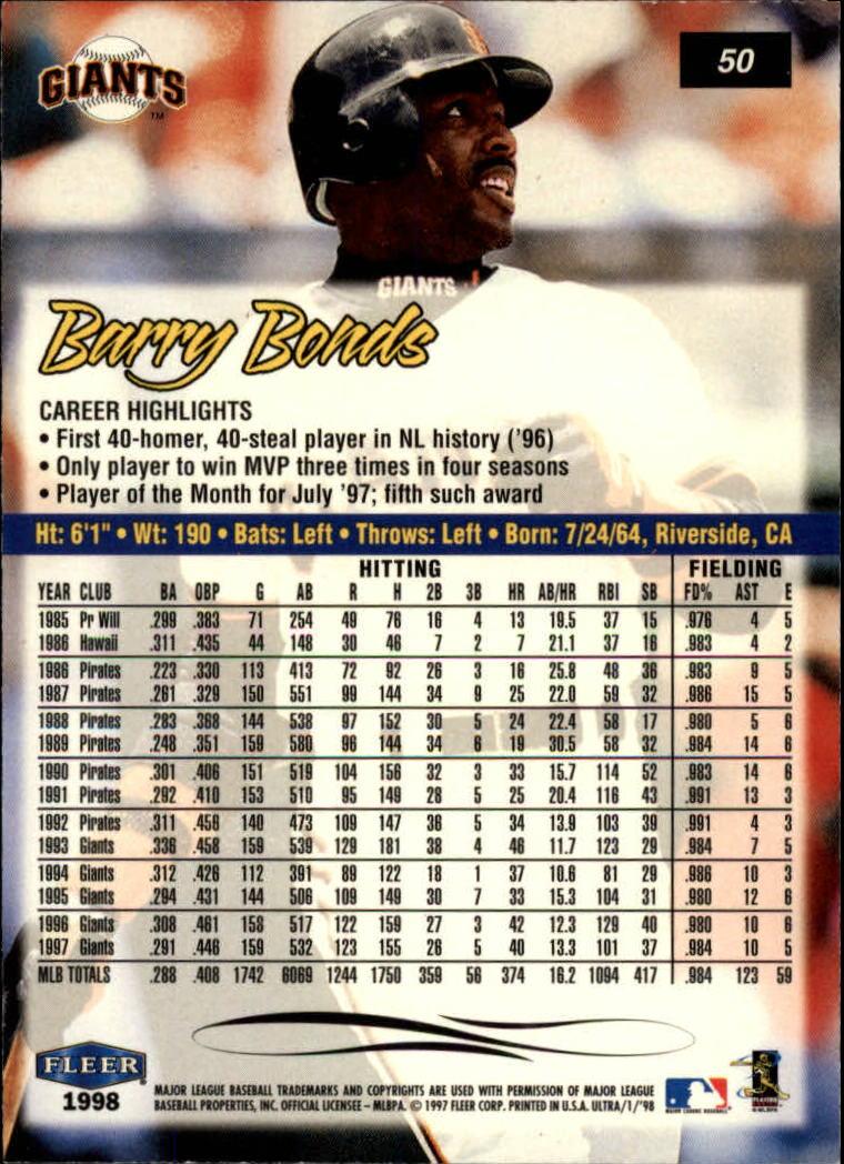 A3782 10+ FREE SHIP 1998 Ultra Baseball Card #s 1-250 +Rookies - You Pick