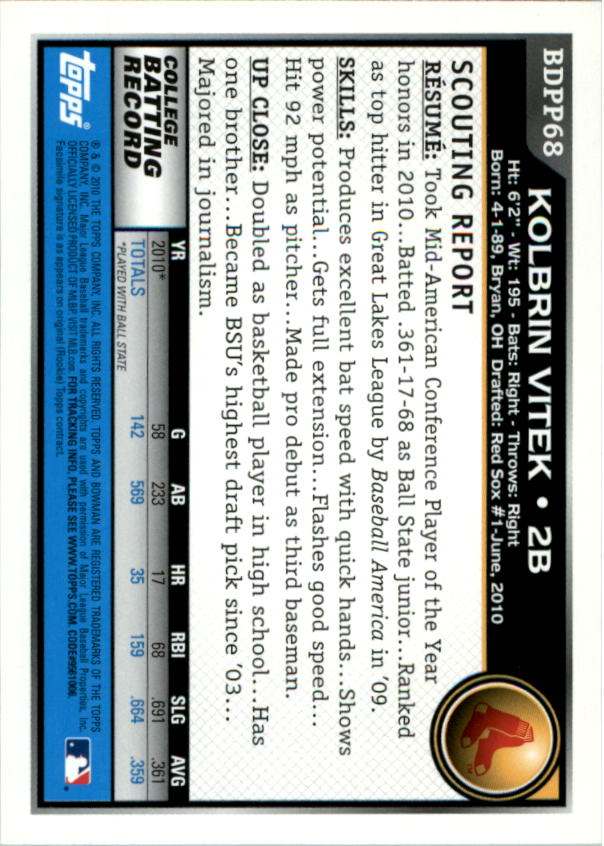 C32 Pick Card From List 2010 Bowman Draft Prospects Baseball