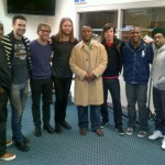 Barry Sanders and his son with Maroon 5.