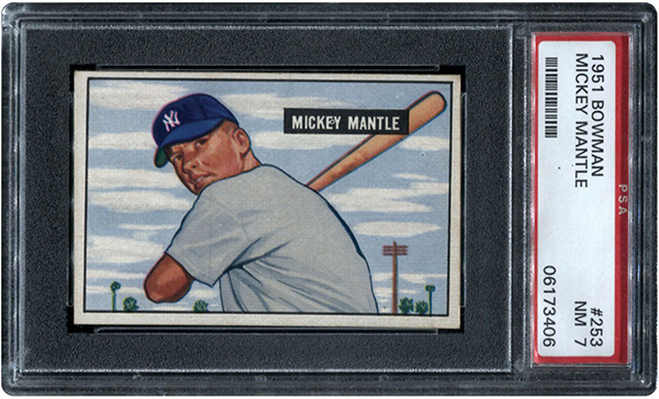 1951 Bowman Mickey Mantle Rookie Card PSA 7
