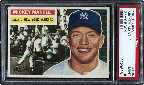 1956 Topps Mickey Mantle Gray Back PSA 9