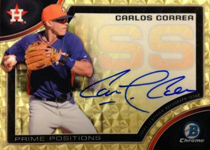 2015 Bowman Chrome Baseball Prime Positions Carlos Correa Autograph Superfractor