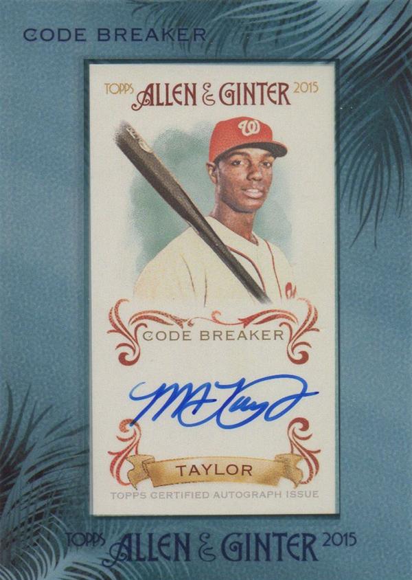 2015 Topps Allen and Ginter Michael Taylor Autograph Code Breaker Error
