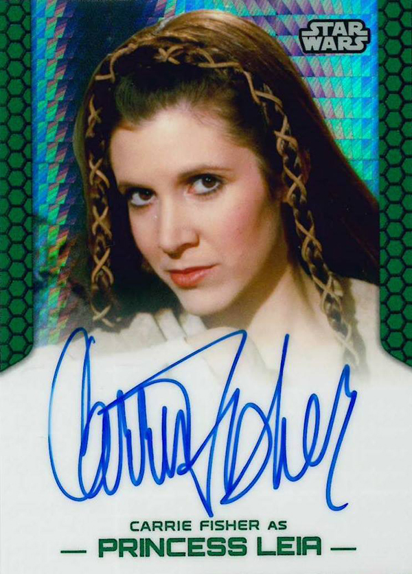 2015 Topps Star Wars Chrome Perspectives Prism Autograph Carrie Fisher as Princess Leia