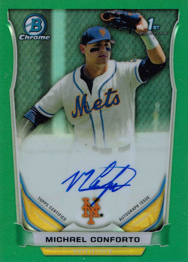 2015-Bowman-Chrome-2014-Draft-Michael-Conforto-Green-Refractor-Autograph