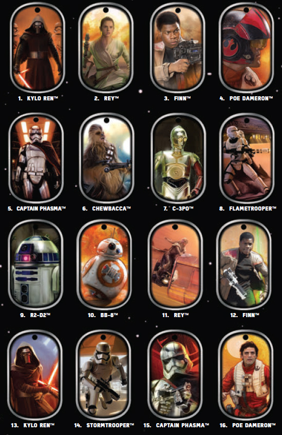 2015 Topps Star Wars The Force Awakens Dog Tags