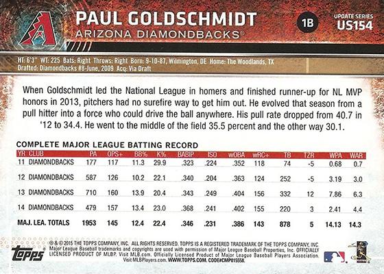 2015 Topps Update Stats Back Variation US154 Paul Goldschmidt Reverse