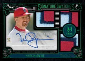 2016 Topps Museum Collection Baseball Signature Swatches Triple Relic Green