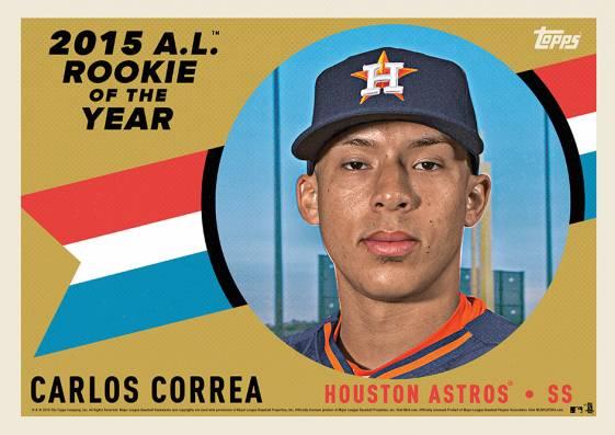 2015 Topps Award Winners AL ROY Carlos Correa Gold