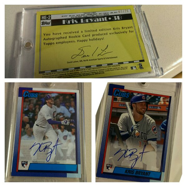 2015 Topps Employee Card Kris Bryant Autograph