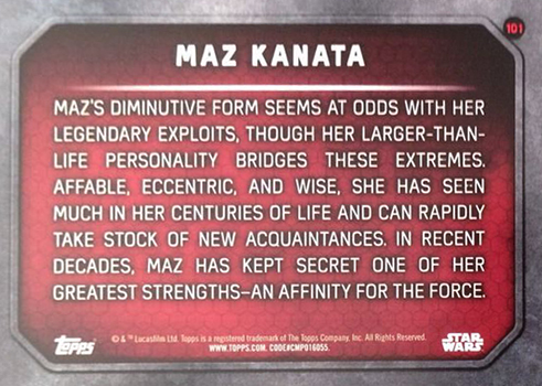 2015 Topps Star Wars The Force Awakens 101 Maz Kanata Target Promo Back