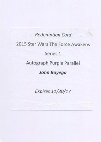 2015 Topps Star Wars The Force Awakens Autographs John Boyega Purple Redemption