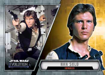 2016 Topps Star Wars Evolution Checklist Base Gold Han Solo