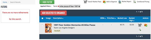 Mike Piazza 8 Fleer 1997 Results