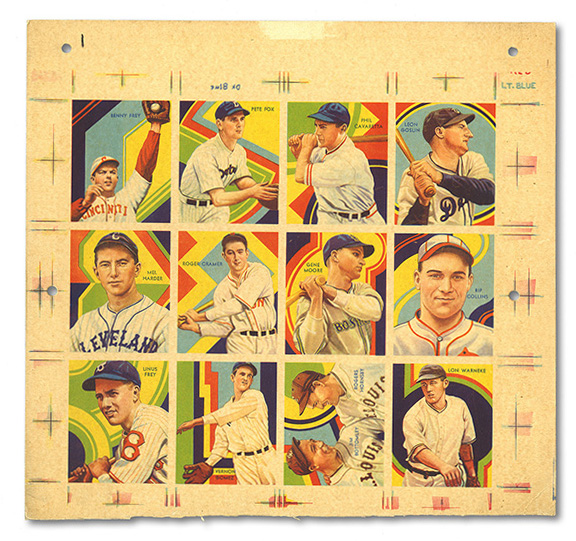 1936 R327 Diamond Stars Baseball Uncut Sheet