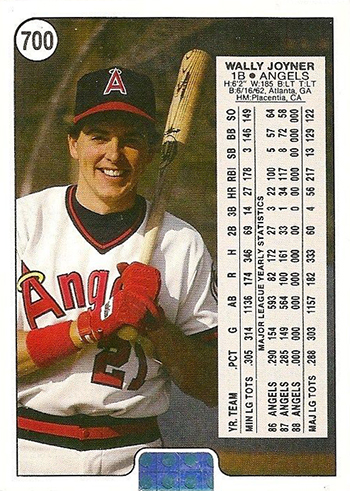 1988 Upper Deck Wally Joyner Promo Card 700 Back Thick Holo