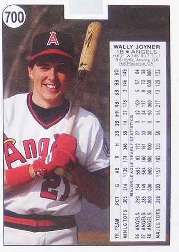 1988 Upper Deck Wally Joyner Promo Card 700 Back Top Hologram