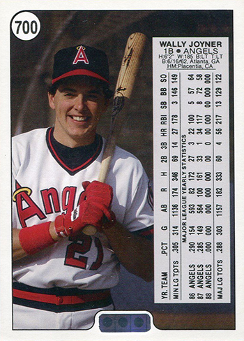 1988 Upper Deck Wally Joyner Promo Card 700 Back