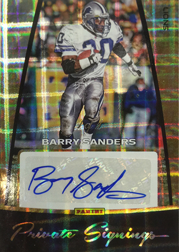 2016 Panini Private Signings Hyper Plaid Barry Sanders Autograph