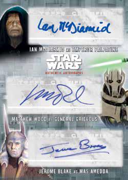 2016 Topps Star Wars Evolution Checklist - Triple Autograph