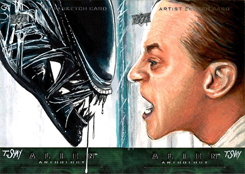 2016 Upper Deck Alien Anthology Sketch Cards Face-to-Face