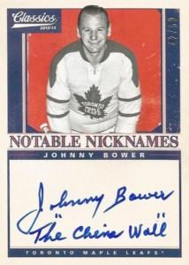 2012-13 Panini Classics Notable Nicknames Johnny Bower The China Wall