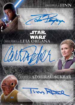 2016 Topps Star Wars The Force Awakens Chrome Triple Autograph