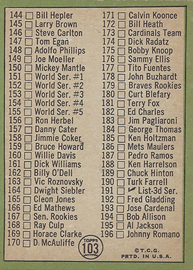 1967 Topps 103A Mickey Mantle Checklist