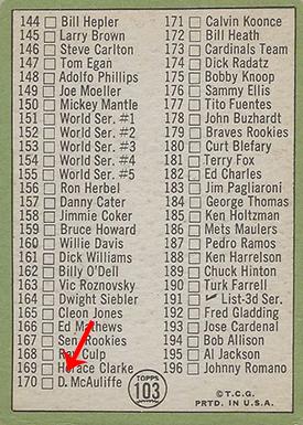 1967 Topps 103B Mickey Mantle Checklist Arrow