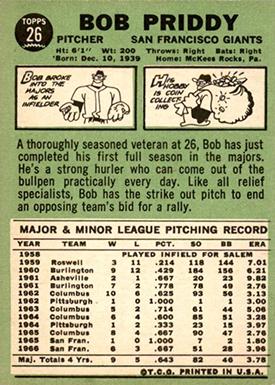 1967 Topps 26 Bob Priddy No Traded Line