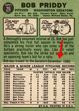 1967 Topps 26 Bob Priddy Traded Line Arrow