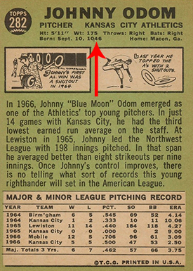 1967 Topps 282 Johnny Odom Back Arrow