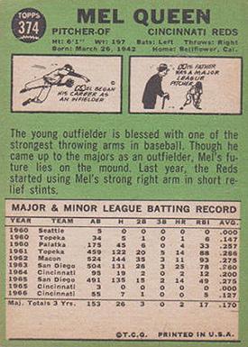 1967 Topps 374 Mel Queen No Line