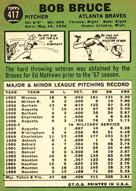 1967 Topps 417 Bob Bruce Braves
