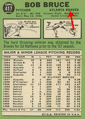 1967 Topps 417 Bob Bruce Rbaves Arrow