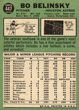 1967 Topps 447 Bo Belinsky Full Stats