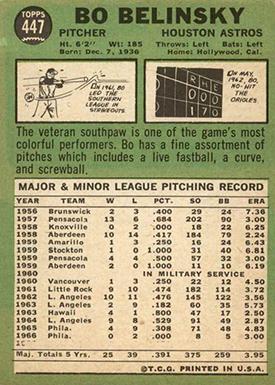 1967 Topps 447 Bo Belinsky No 1967 Stats