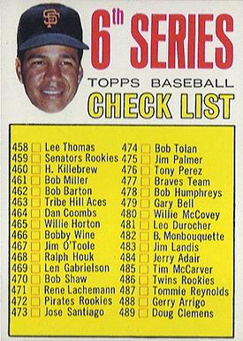 1967 Topps 454 Juan Marichal Checklist Left Ear Showing