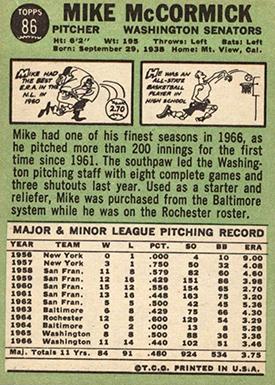 1967 Topps 86 Mike McCormick No Trade
