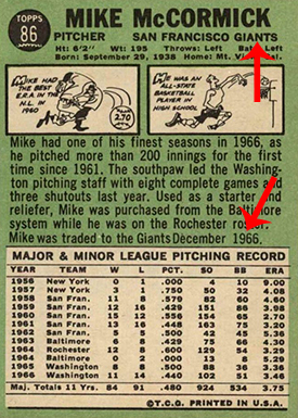 1967 Topps 86 Mike McCormick With Trade Arrow