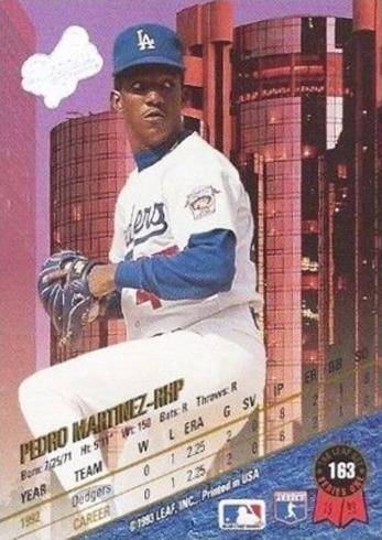 1993 Leaf Pedro Martinez Back