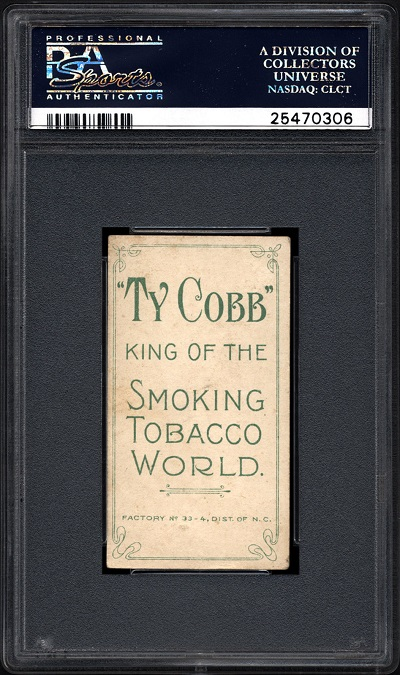 T206 Ty Cobb Lucky 7 Find PSA 2-5 Back