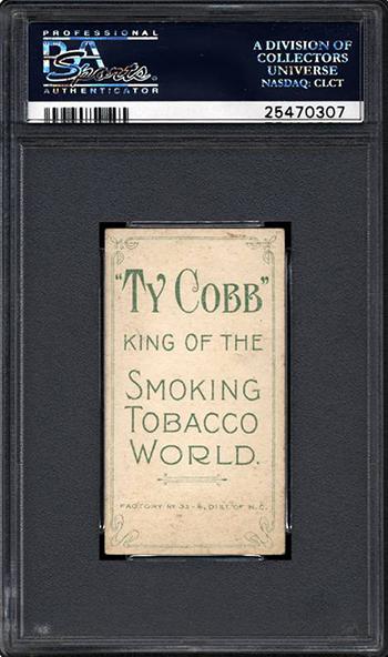 T206 Ty Cobb Ty Cobb Back