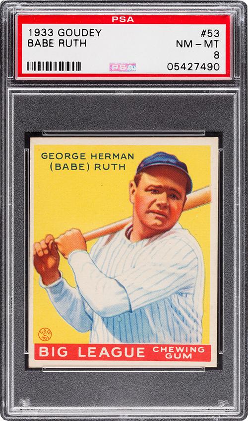 1933 Goudey 53 Babe Ruth PSA 8