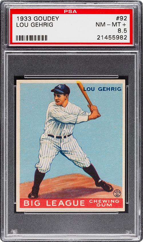1933 Goudey 92 Lou Gehrig PSA 8-5