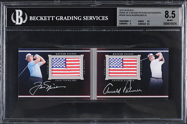 2014 UD Black Pride of a Nation Patches Jack Nicklaus Arnold Palmer BGS 85