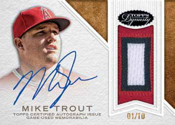 2016 Topps Dynasty Baseball Autographed Patch Mike Trout